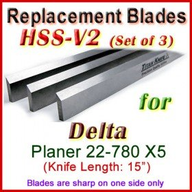 Set of 3 HSS Blades for Delta 15'' Planer, 22-780 X5