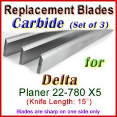 Set of 3 Carbide Blades for Delta 15'' Planer, 22-780 X5