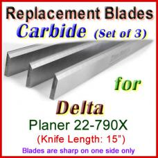 Set of 3 Carbide Blades for Delta 15'' Planer, 22-790X