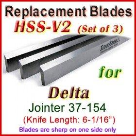 Set of 3 HSS Blades for Delta 6'' Jointer, 37-154