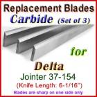 Set of 3 Carbide Blades for Delta 6'' Jointer, 37-154