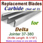 Set of 3 Carbide Blades for Delta 8'' Jointer, 37-380