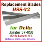Set of 3 HSS Blades for Delta 6'' Jointer, 37-658