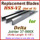 Set of 3 HSS Blades for Delta 6'' Jointer, 37-866X