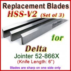 Set of 3 HSS Blades for Delta 6'' Jointer, 52-866X