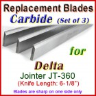 Set of 3 Carbide Blades for Delta 6'' Jointer, JT -360