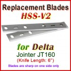 Set of 2 HSS Blades for Delta 6'' Jointer, JT160