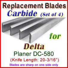 Set of 4 Carbide Blades for Delta 20'' Planer, DC-580