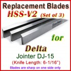 Set of 3 HSS Blades for Delta 6'' Jointer, DJ-15