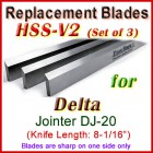 Set of 3 HSS Blades for Delta 8'' Jointer, DJ-20