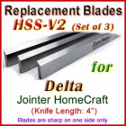 Set of 3 HSS Blades for Delta 4'' Jointer, HomeCraft
