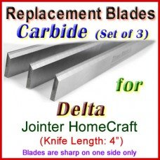 Set of 3 Carbide Blades for Delta 4'' Jointer, HomeCraft