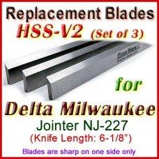 Set of 3 HSS Blades for Delta 6'' Jointer, Delta Milwaulkee NJ-227