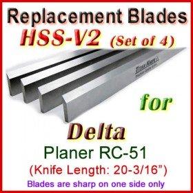 Set of 4 HSS Blades for Delta 20'' Planer, RC-51