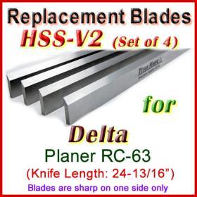 Set of 4 HSS Blades for Delta 25'' Planer, RC-63
