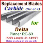 Set of 4 Carbide Blades for Delta 25'' Planer, RC-63