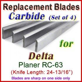 Set of 4 Carbide Blades for Delta 25'' Planer, RC-63