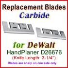 Set of 2 Carbide Blades for DeWalt 3'' Handheld Planer, D26676