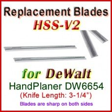 Set of 2 HSS Blades for DeWalt 3'' Handheld Planer, DW6654