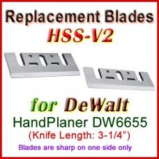 Set of 2 HSS Blades for DeWalt 3'' Handheld Planer, DW6655