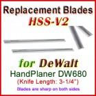 Set of 2 HSS Blades for DeWalt 3'' Handheld Planer, DW680