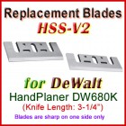 Set of 2 HSS Blades for DeWalt 3'' Handheld Planer, DW680K