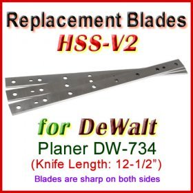 Set of 3 HSS Blades for DeWalt 12-1/2'' Planer, DW-734