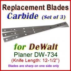 Set of 3 Carbide Blades for DeWalt 12-1/2'' Planer, DW-734