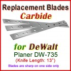 Set of 3 Carbide Blades for DeWalt 13'' Planer, DW-735