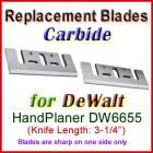 Set of 2 Carbide Blades for DeWalt 3'' Handheld Planer, DW6655