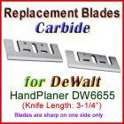 Set of 2 Carbide Blades for DeWalt 3'' Handheld Planer, DW6655