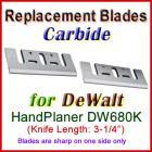 Set of 2 Carbide Blades for DeWalt 3'' Handheld Planer, DW680K