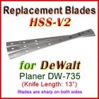 Set of 3 HSS Blades for DeWalt 13'' Planer, DW-735