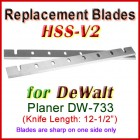 Set of 2 HSS Blades for DeWalt 12-1/2'' Planer, DW-733