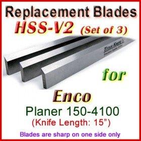 Set of 3 HSS Blades for Enco 15'' Planer, 150-4100