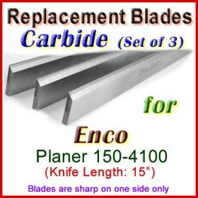Set of 3 Carbide Blades for Enco 15'' Planer, 150-4100