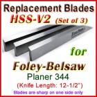 Set of 3 HSS Blades for Foley-Belsaw 12-1/2'' Planer, 344