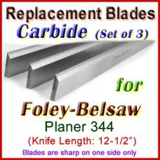 Set of 3 Carbide Blades for Foley-Belsaw 12-1/2'' Planer, 344