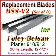 Set of 3 HSS Blades for Foley-Belsaw 12-1/2'' Planer, 910 or 912