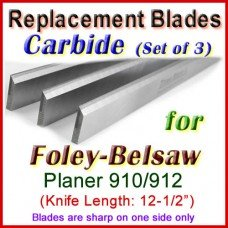 Set of 3 Carbide Blades for Foley-Belsaw 12-1/2'' Planer, 910 or 912