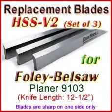 Set of 3 HSS Blades for Foley-Belsaw 12'' Planer, 9103