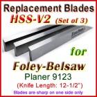 Set of 3 HSS Blades for Foley-Belsaw 12-1/2'' Planer, 9123