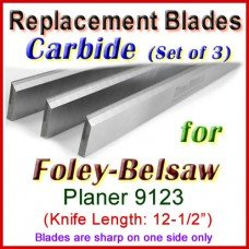 Set of 3 Carbide Blades for Foley-Belsaw 12-1/2'' Planer, 9123