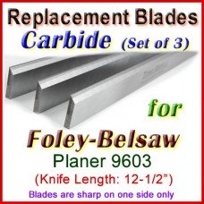 Set of 3 Carbide Blades for Foley-Belsaw 12-1/2'' Planer, 9603