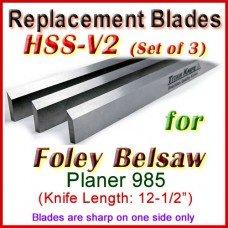 Set of 3 HSS Blades for Foley-Belsaw 12'' Planer, 985