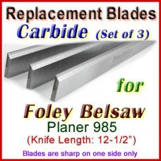 Set of 3 Carbide Blades for Foley-Belsaw 12'' Planer, 985