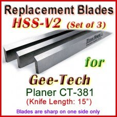 Set of 3 HSS Blades for Gee-Tech 15'' Planer, CT-381