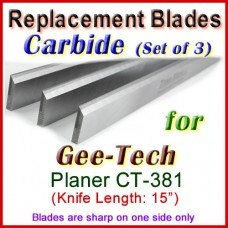 Set of 3 Carbide Blades for Gee-Tech 15'' Planer, CT-381