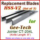 Set of 3 HSS Blades for Gee-Tech 8'' Jointer, CT204L