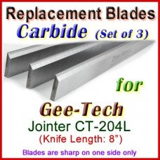 Set of 3 Carbide Blades for Gee-Tech 8'' Jointer, CT204L